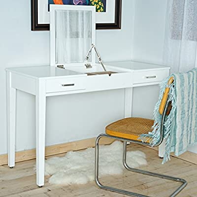 Posh Pollen Ainsley Vanity Desk - White - Top lifts to reveal a beveled Vanity mirror with additional storage space. 2 pull-out drawers effortlessly slide on metal hardware. Built in power outlet and USB port (to be installed and/or used in accordance with appropriate electrical codes and regulations. Consult electrician) - writing-desks, living-room-furniture, living-room - 51Rac3ioA4L. SS400  -