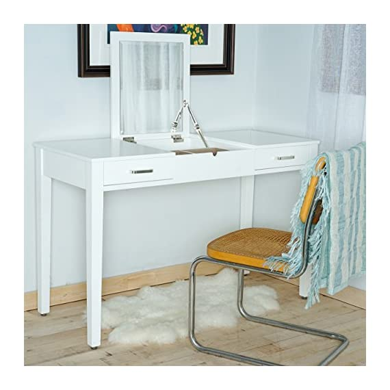 Posh Pollen Ainsley Vanity Desk - White - Top lifts to reveal a beveled Vanity mirror with additional storage space. 2 pull-out drawers effortlessly slide on metal hardware. Built in power outlet and USB port (to be installed and/or used in accordance with appropriate electrical codes and regulations. Consult electrician) - writing-desks, living-room-furniture, living-room - 51Rac3ioA4L. SS570  -