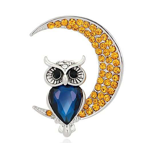 Christmas Jewelry Brooch Pins Owl Moon Design with Rhinestones and Artificial Crystal Gift for Valentine's (Crystal Owl Pin)