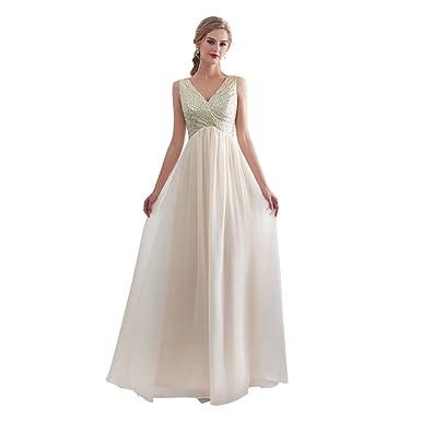 High Waist Wedding Dress   Anff Women S V Neck Wedding Dress High Waist Bridal Dress Formal