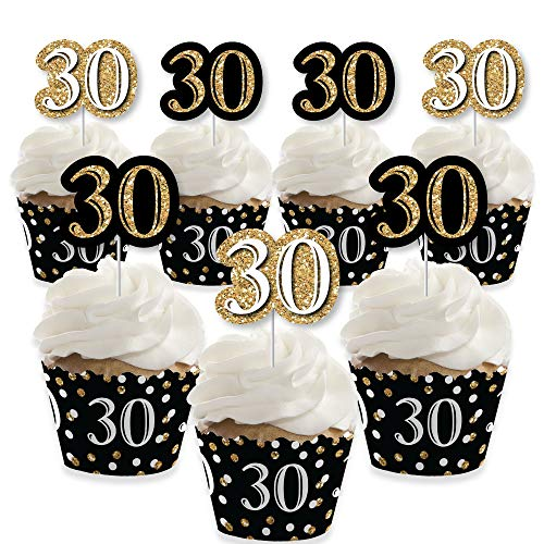 - Adult 30th Birthday - Gold - Cupcake Decoration - Birthday Party Cupcake Wrappers and Treat Picks Kit - Set of 24