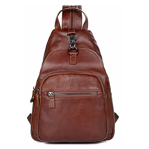 kinokoo - Bolso mochila de Piel para mujer marrón