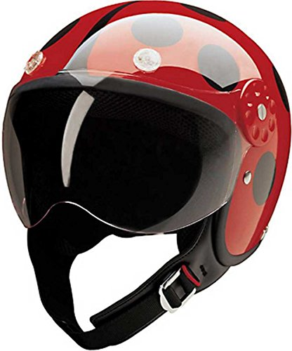 HCI Open Face Fiberglass Motorcycle Helmet - Red/Black Ladybug 15-210 (Large)