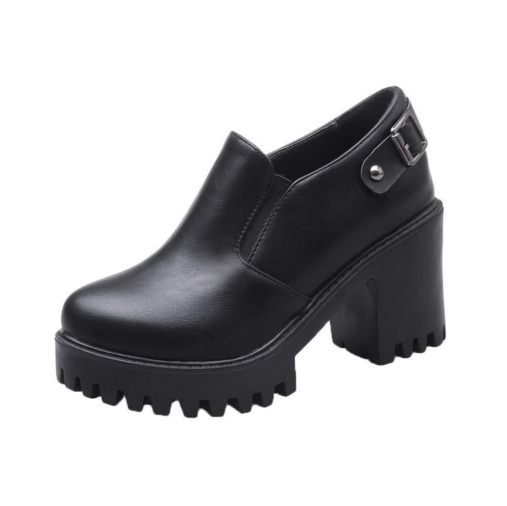 AalarDom Femme Haut à Talon Haut Couleur Femme Unie Noir Tire PU Cuir Chaussures Légeres, TSFDH005709 Noir bf5f404 - robotanarchy.space