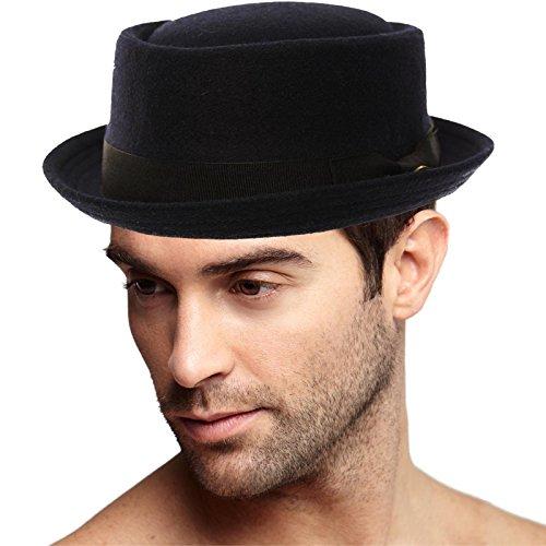 Blue Tuxedo Top Hat (Men's Winter Wool Boater Porkpie Derby Fedora Ribbon Band Hat S/M Navy)
