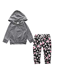 Toddler Baby Girl 2pcs Flower Print Hoodies with Pocket Top+Striped Long Pants Set
