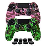 Hikfly Silicone Gel Controller Cover Skin Protector Compatible for Sony PlayStation 4 PS4/PS4 Slim/PS4 Pro Controller (2 x Cover with 8 x FPS Pro Thumb Grip Caps)(Green,Pink)