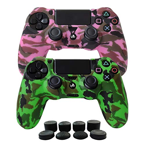 Hikfly Silicone Gel Controller Cover Skin Protector Compatible for Sony PlayStation 4 PS4/PS4 Slim/PS4 Pro Controller (2 x Cover with 8 x FPS Pro Thumb Grip Caps)(Green,Pink) by Hikfly
