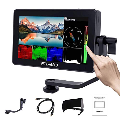FEELWORLD F6 Plus 5.5 Inch DSLR On Camera Field Monitor Touch Screen 3D Lut Small Full HD 1920×1080 IPS Peaking Focus…