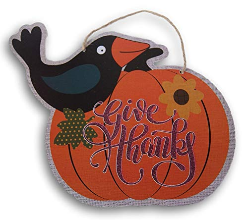 Regent Harvest Fall Crow and Pumpkin Give Thanks Glittery Hanging Sign - 10.5 x 9.5 Inches -