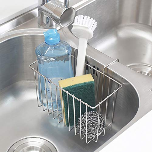 THETIS Homes Sponge Holder for Kitchen Skin, Stainless Steel Kitchen Skin Caddy, Durable & Rustproof Dishwashing Liquid Drainer, Dish Draining Skin Basket