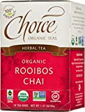 Choice Organic Teas Caffeine Free Herbal Tea, Rooibos Chai, 16 Count, Pack of 6