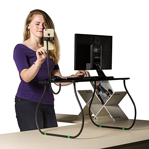 RXMOO 26'' Wide Easily Adjustable Standing Desk Sitting desk Height Adjustable Stand up Desk with Phone holder and Wriest Rest Pad Helps Relieve Back Pain by rxmoo