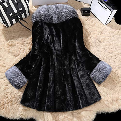 Manteau Collier Noir De Fausse Fourrure Léopard Moyen Veste Classique Long qXrpxw1Xz