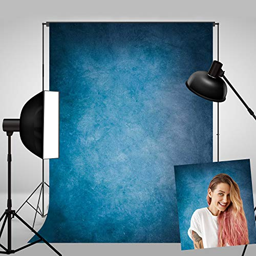 Haboke 5X7ft Soft Durable Fabric Abstract Blue Portrait Photography Backdrop Old Master Style for Photo Studio Booth Props