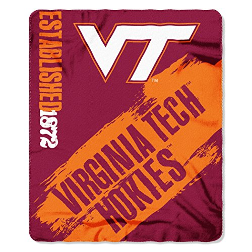 NCAA Virginia Tech Hokies Painted Printed Fleece Throw Blanket, 50