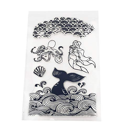 4.3 by 6.3 Inches Sea Fish Mermaid New Clear Rubber Stamps for Scrapbooking Card Making Easter Christmas Clear Stamps