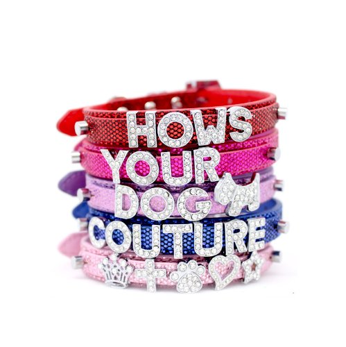 "HOW'S YOUR DOG Fab Glitter ""Name Me"" Personalized Collar for Dogs and Cats - Free Swarovski Crystal Letters included - Pearl Pink"