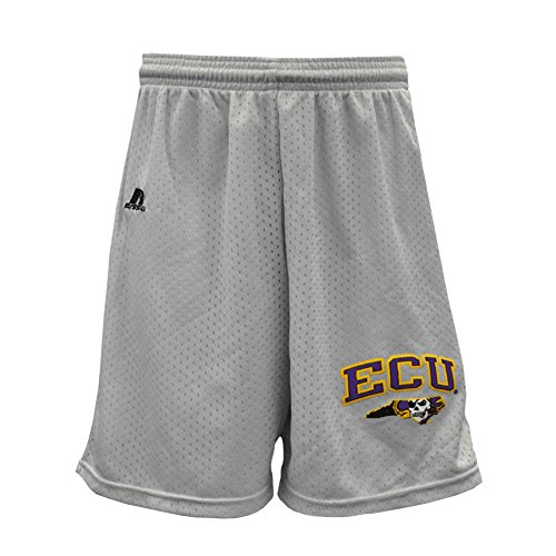 - ECU Silver/Grey Mesh Shorts with Pirate State of Mind Logo East Carolina (Youth Small)