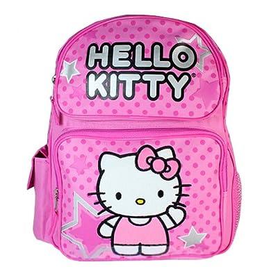 "Sanrio Hello Kitty Pink 16"" Large Backpack School Bag with Star (JoyAve) good"