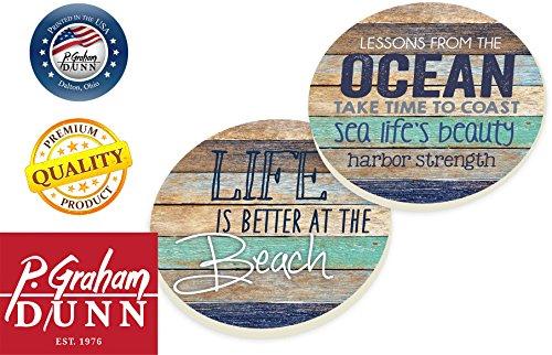Life-Is-Better-At-The-Beach-Coastal-Ocean-Vintage-Look-Ceramic-Car-Coaster-Pack-Set-of-2