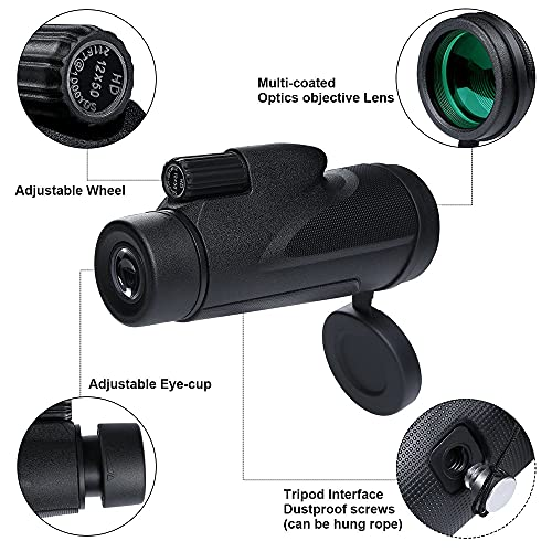 Monocular Telescopes, 12X50 Telescope with Smartphone Holder & Tripod Waterproof Monocular with Night Vision for Climbing Bird Watching Hunting Concert Soccer Game Travel…