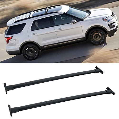 "VioletLisa 1 Pair Black Aluminum Mount Onto the Rooftop Roof Rack Cross Bars Top Rail Carries Luggage Carrier w/ 44.92"" Longer Bar+43.98"" Shoter bar For 11-15 Ford Explorer"