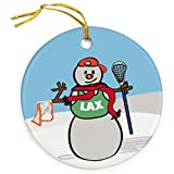 ChalkTalkSPORTS Guys Lacrosse Porcelain Ornament | Snow Bro Christmas Ornament