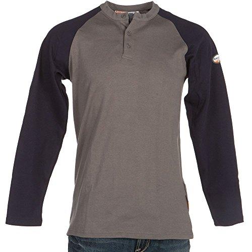 - Rasco FR Mens FR Navy/Grey Two Tone Henley Shirt XL Navy/White