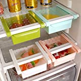 Perfect Life Ideas 4 Pcs Fridge Space Saver Organizer Slide Storage Rack Shelf Drawer - Easily Maintaining Your Extra Meals, Sweets, Chocolates, Double Up Your Space in Refrigerator, Service for 4