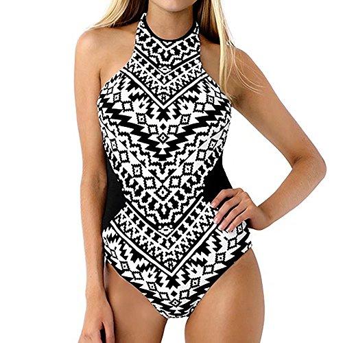 Beauty&Me Womens Black and White Stripes Bikini One Piece Thong Bathing - Womens Suits Bath