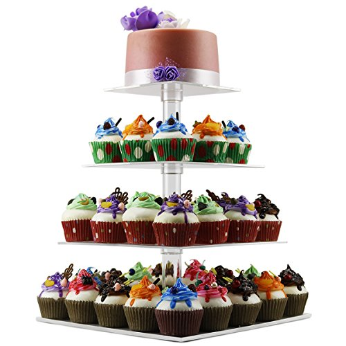 4 Tier Cupcake Holder Stand,Square Clear Acrylic Cupcake Display Riser,Tiered Dessert Stand,Cupcake Tower Stand Plastic,Cupcake Tree Carrier for Wedding Birthday -