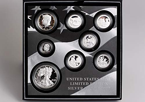 - 2017 S Limited Edition 8-Piece Silver Proof Set including Proof Silver Eagle $1 Choice DCAM with Original Packaging, Sleeve and COA US Mint