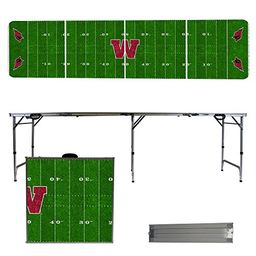 NCAA Wesleyan University Cardinals Football Field Version Folding Tailgate Table, 8' by Victory Tailgate
