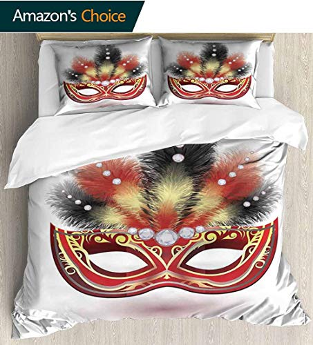 - shirlyhome Masquerade Bedspread Set Queen Size,Party Mask with Feathers and Diamond Figures Traditional Festive Design Kids Bedding-Does Not Shrink or Wrinkle 79