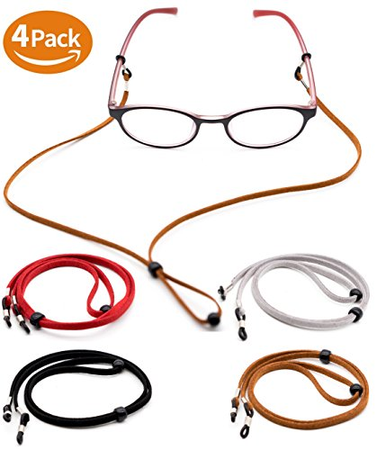 Eyeglass Holder Chain [Pack of 4 + Bonuses] Premium Leather Eyewear Retainer - Womens Mens Sunglasses Eyeglasses Strap for Sports Travelers Drivers - Safety Glasses Strap - Never Lose Glasses Again