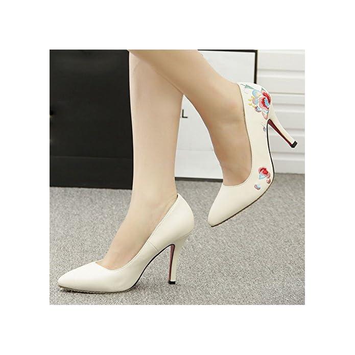 Cxy Scarpe Da Donna Primavera Modelli Tacchi Alti Donne Guangzhou Stile Etnico Bene Con Le Ricamate Di Marca pelle Bufalo 40