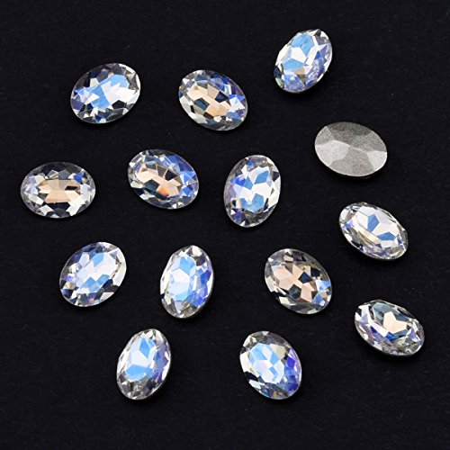 Crystal Clear Nail Rhinestone Oval Nail Gems 3d Glass Back Pointed Nail Art Decoration Accessories 30pcs