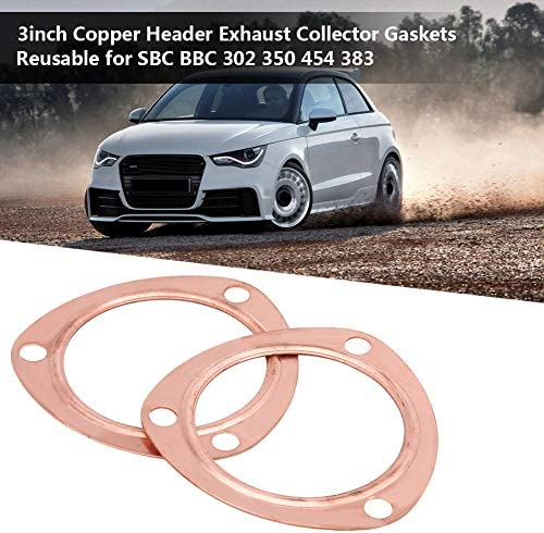Qiilu 2pcs 3inch Copper Header Exhaust Collector Gaskets Reusable for SBC BBC 302 350 454 383 Exhaust Gaskets