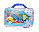 Abeson Doctor Kit for Kids Pretend Play Toys With Carry Case (9 Piece Medical Set) With Daniel Visits the Doctor Book (Blue)