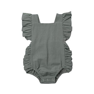 de64d4bfa47 Mealeaf ❤ Summer Newborn Baby Boys Girls Ruffle Solid Romper Bodysuit  Jumpsuit Clothes