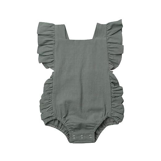 48959084682 DDLmaxBaby Girl Ruffle Sleeveless Romper Infant Button Bodysuit Sunsuit  0-24M (Green