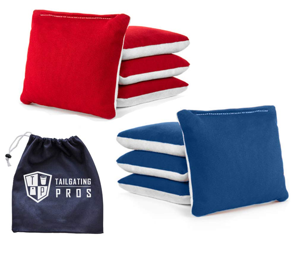 Tailgating Pros Pro-Style Two-Sided Cornhole Bags Red Royal Blue w/White Suede & Bag Tote - Slick & Stick - All Weather - Set of 8