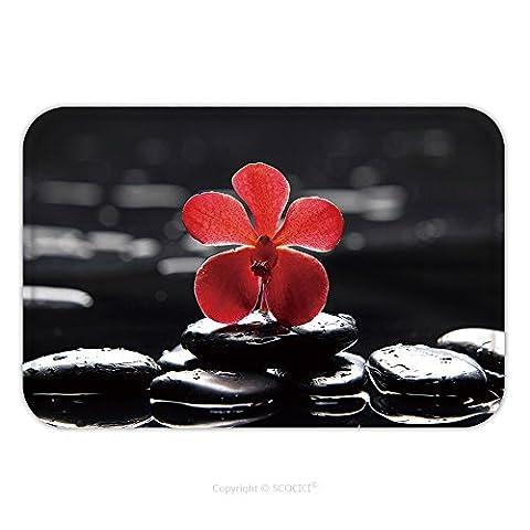 Flannel Microfiber Non-slip Rubber Backing Soft Absorbent Doormat Mat Rug Carpet Reflection Of Red Orchid With Green Fern 65956375 for - Echelon Echelon Shower Locker