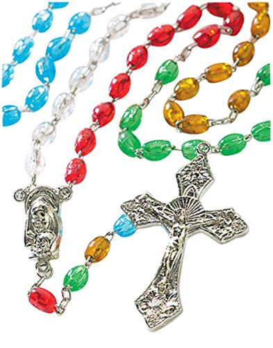 CB Multi Color Bead Madonna Christ Child Center World Mission Daily Prayer Rosary ()