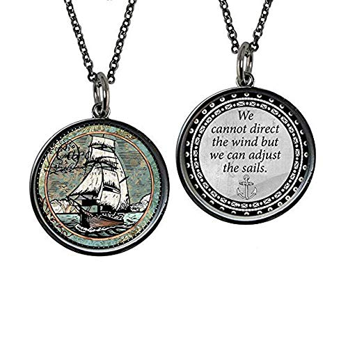 Spirit Lala Reversible Sail Boat Circle Pendant Necklace with Card and Gift Box