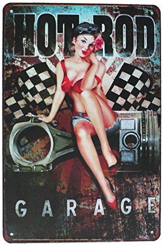 Sumik Hot Rod Garage Girl, Metal Tin Sign, Vintage Art Poster Plaque Garage Home Wall ()