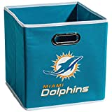 Franklin Sports Miami Dolphins Collapsible Storage Bin – NFL Folding Cube Storage Container – Fits Bin Organizers – Fabric NFL Team Storage Cubes