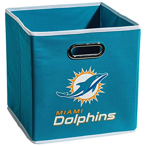 Franklin Sports Miami Dolphins Collapsible Storage Bin - NFL Folding Cube Storage Container - Fits Bin Organizers - Fabric NFL Team Storage Cubes
