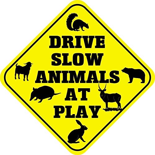 AdriK Metal Aluminum Sign Drive Slow Animals at Play Crossing Plaque for Yard Garage Driveway House Fence
